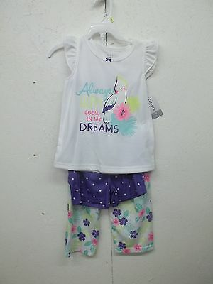 4372cd452 NWT CARTERS GIRLS 3 Pc Pajama Set-4-Cockatoo-Birds -  8.99