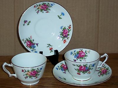 2  Crown Staffordshire Cups And Saucers  Roses   Made In England
