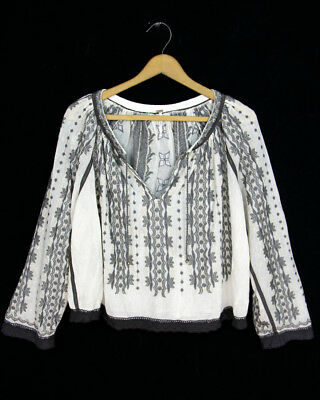 Free People Sz S Metallic Embroidered Mesh Peasant Flowy Lace Trim Blouse Top