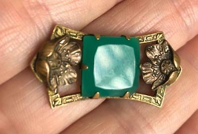 Vintage Antique Brooch Green Glass Stone w/ Rose Gold Flowers Art Deco Nouveau