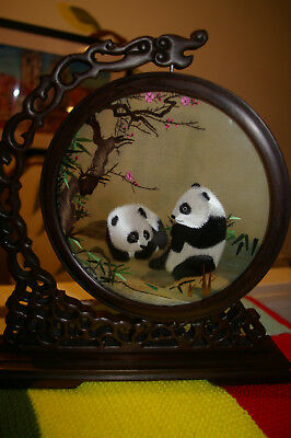 Chinese Silk Embroidery Created in Suzhou China Panda Bears, Chicken Wing Wood