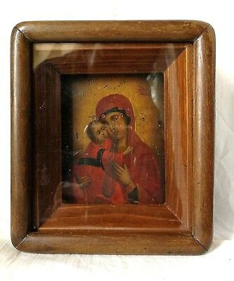 OLD RUSSIAN ICON Orthodox ANTIQUE VIRGIN MARY & JESUS CHRIST 19 C Wooden KIOT