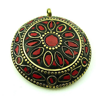 Solid Brass Red Coral Gemstone Antique Ethnic Vintage Nepali Pendant 280