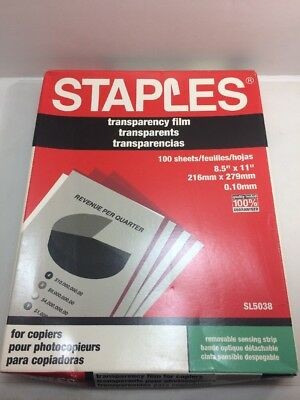 "Open Box Staples Transparency Film 5038 84 Out Of 100 Sheets 8.5"" X 11"""