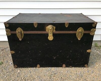 """Vintage Steamer Trunk Large 35"""" Chest w/Key & Shelf Antique Rustic Coffee Table"""