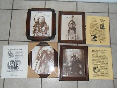4 Native American Numbered Prints by photographer D.F.Barry, framed