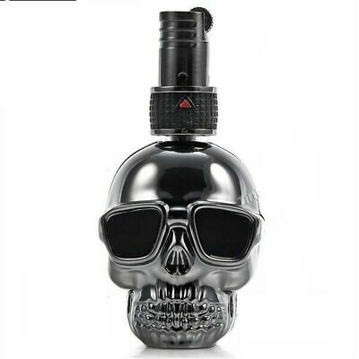 Skull Lighter Trick Floating Flame Butane Gas Refillable Witch Fire Black