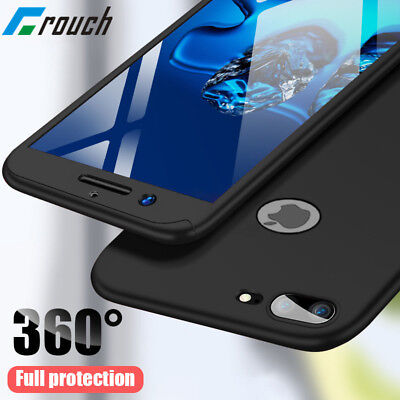 360 Full Protection Phone Case + Tempered Glass Cover For iphone X/XR/XS Mas 7/8