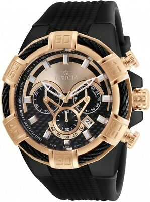 Men's Invicta 24700 Bolt  Swiss Chronograph Black and Rose Gold Dial  Watch