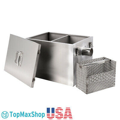 Commercial 8LB 5GPM Fat Oil Grease Trap Stainless Steel Interceptor