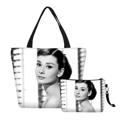Fashion Canvas Tote Bag Makeup Bag Audrey Hepburn Shopper Bag Beach Shoulder Bag