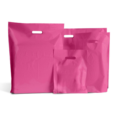 HOT PINK COLOURED PLASTIC CARRIER | BAGS GIFT SHOP STRONG HANDLE BAG 10x16x4""