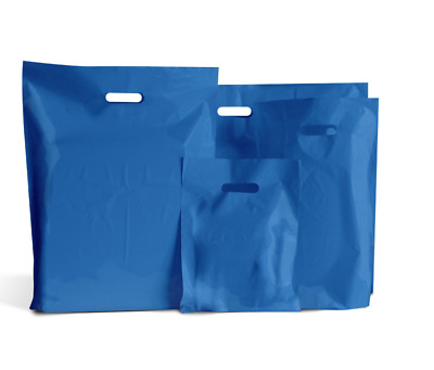 BLUE COLOURED PLASTIC CARRIER | BAGS GIFT SHOP STRONG HANDLE BAG 10x16x4""