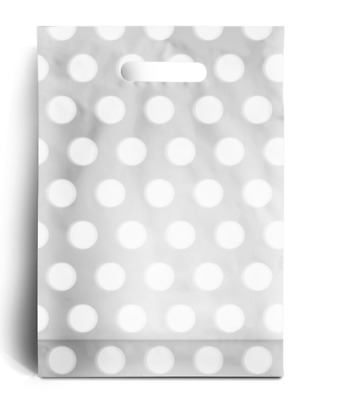"White Polka Dot PLASTIC CARRIER | BAGS GIFT SHOP STRONG HANDLE BAG 10"" x 12"""