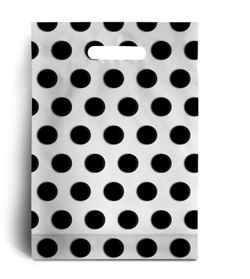 "Black Polka Dot PLASTIC CARRIER | BAGS GIFT SHOP STRONG HANDLE BAG 10"" x 12"""