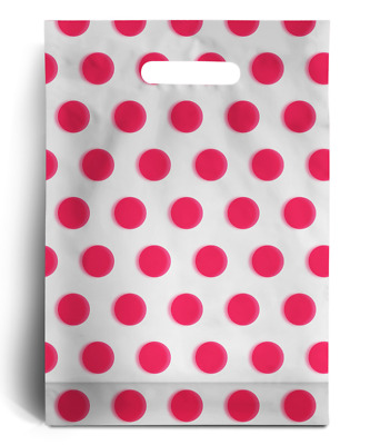 "Pink Polka Dot PLASTIC CARRIER | BAGS GIFT SHOP STRONG HANDLE BAG 10"" x 12"""