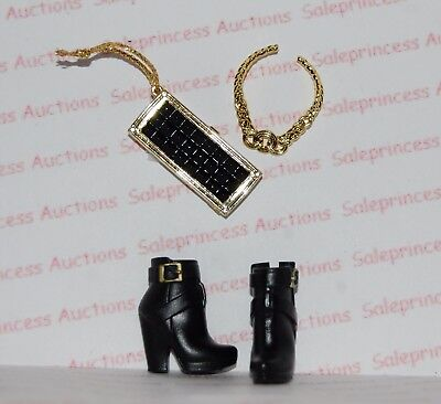 NEW The Barbie Look Urban Jungle Black Boots Shoes, Purse & Necklace Loose