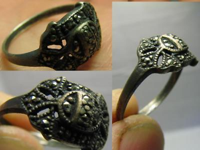 INTERESING ! AUTHOR'S WORK ! VINTAGE STERLING SILVER RING with STONE !  #543