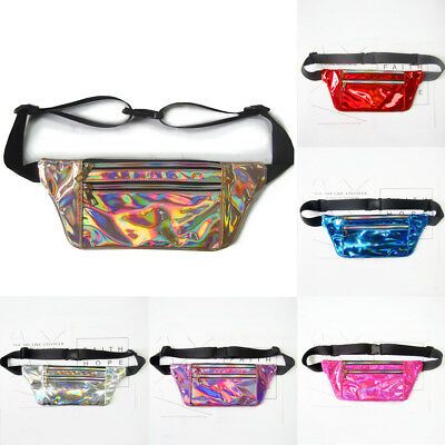 Fanny Pack Shiny Waist Bag Waterproof Leather Travel Festival Wallet Belt Bag AU