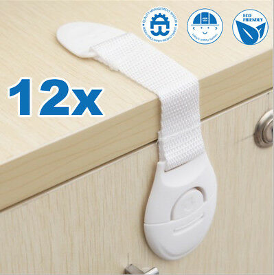 12X Baby Safety Lock Child Kids Adhesive Drawer Door Cabinet Cupboard Belt