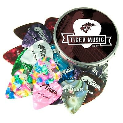 GAC25 Medium Guitar Plectrum with Pick Tin Pack of 25 0.46 mm to 1.5 mm