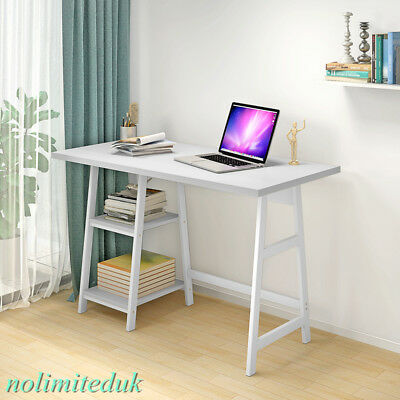Wooden Morden Home Office Laptop Table Computer Desk with Shelves Storage White