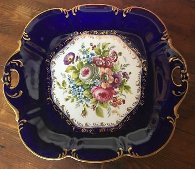 Piatto D'epoca In Porcellana Oro E Blu Decoro Limoges Antico Dipinto A Mano