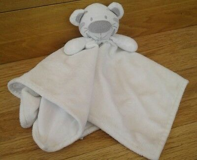 Primark Early Days White Silver Grey Tiger Baby Comforter Blanket Soft Toy Vgc