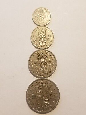 1951 England (UK)  4 Coin Lot -  Sixpence, 1 Shilling, 2 Shillings, 1/2 Crown