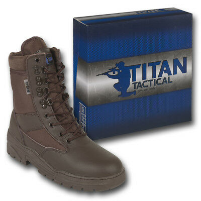 Brown Patrol Combat Boots Leather 50/50 Tactical Cadet Security Military Police