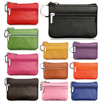 Women's Genuine Leather 2 Zipper Pockets Key Ring Coin Purse Mini Pouch Wallet