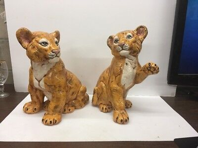 2 LARGE VINTAGE 1979 Signed BETTY CERAMIC TIGER CUB FIGURINE SCULPTURE