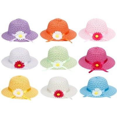 Toddlers Infants Baby Girls Summer Hats Straw Sun Beach Hat For Cap 2-7 Year