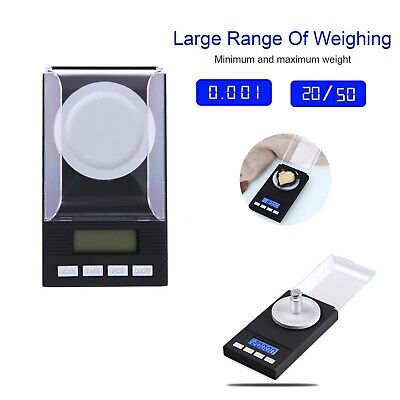 0.001g - 20g/50g Mini Digital Pocket Scale Diamond Jewelry Weighing Slim Design