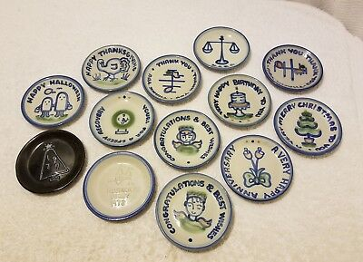 "M.A. Hadley Pottery COASTER Small 4.25"" ~ LOT OF 13 ~ Nice Collection! Fast Ship"