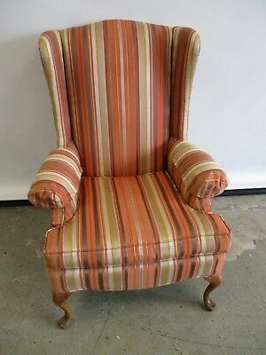 Vintage Wingback Chair Accent Chair Striped Fabric Wingback Chair