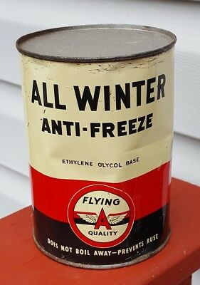 Vintage Tidewater Oil Co Flying A Quality 1-qt Anti-Freeze Can FULL