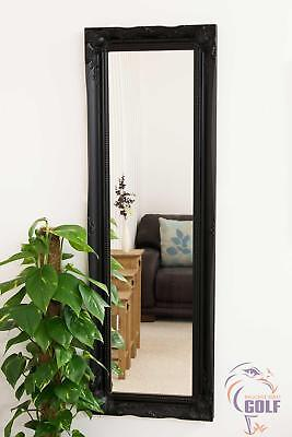 Extra Large Black Ornate Vintage Chic Dress Wall Mirror 4Ft6 X 1Ft6 135 X 45cm