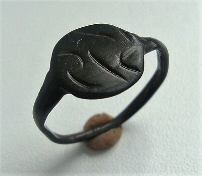 Ancient Old Medieval Bronze Ornament Ring M