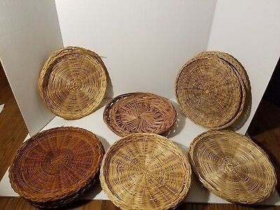 Vintage Lot Rattan Wicker Woven Paper Plate Holders Picnic Party BBQ Straw & VINTAGE LOT Rattan Wicker Woven Paper Plate Holders Picnic Party BBQ ...