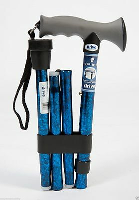 Fancy Soft Gel Handle T Folding Walking Stick Cane in Blue Crackle