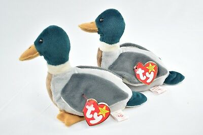 43ec28d9ec9 PAIR OF TY JAKE the MALLARD DUCK BEANIE BABY - RETIRED w tag errors ...