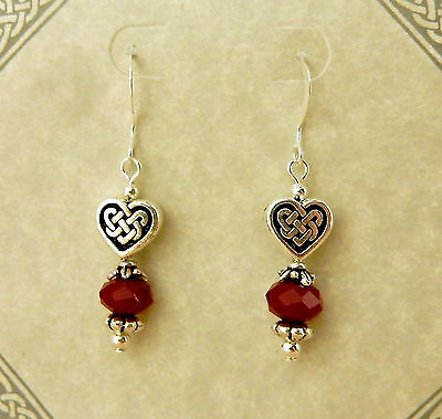 Antique silver Celtic Knot Heart beaded earrings with red opaque crystals