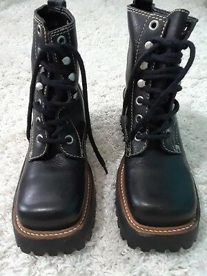 da907ca6aeae Womens Black Leather Platform Boots Combat Biker Punk Rocker Chick Lace Up  6M