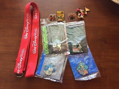 Disney World Pin Trading Lot Red Lanyard Set with 8 Pins Louie Toy Story 2 Rare