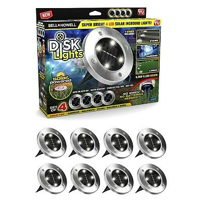 Bell + Howell Disk Lights Solar Powered LED Outdoor Lights, As Seen on TV 8 PACK