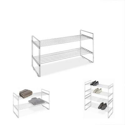 2 Tier Stackable Closet Shelves   Chrome