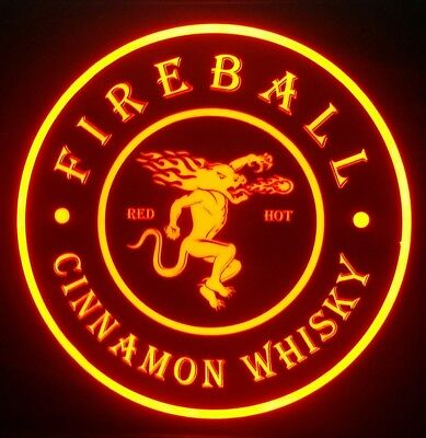 Fireball Whisky 12 x 12 Man Cave Multi color LED Sign led box with remote