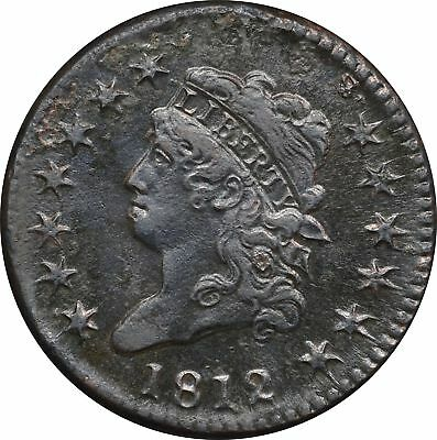 1812 Classic Head Large Cent, XF-AU Details, Surface Roughness but Atrractive