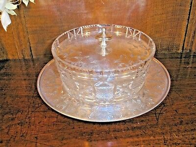VGC Silver Plated CUT GLASS DISH with ENGRAVED LID and STAND